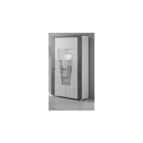 ascot grey and white high gloss marble effect two door wall unit