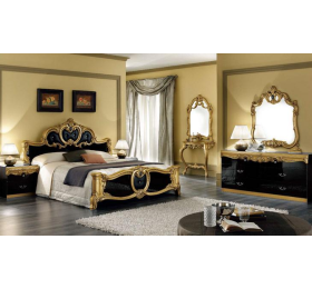 Barocco black and gold 4 door  bedroom set