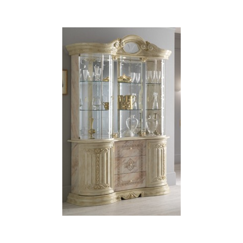 Ben Company Betty Onyx Finish Italian 3 Door Display Cabinet