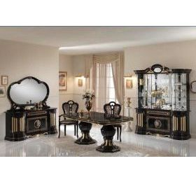 Betty Black & Gold Dining Table + 4 Chairs & 2 Carvers
