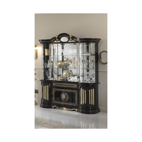 Ben Company Betty Black / Gold Finish Italian 4 Door Vitrine