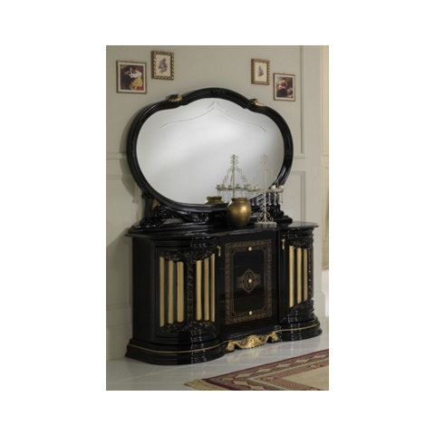 Ben Company Betty Black and Gold Finish Italian 3 Door Buffet