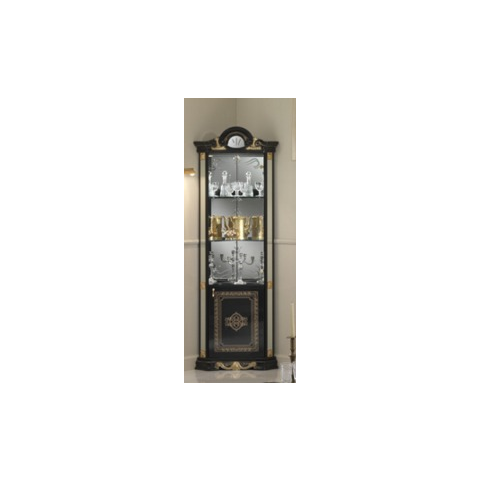 Ben Company Betty Black / Gold Finish Italian Corner Display Cabinet