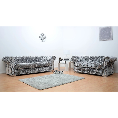 chesterfeild sofa 3 and 2 seater sofa double crushed velvet silver