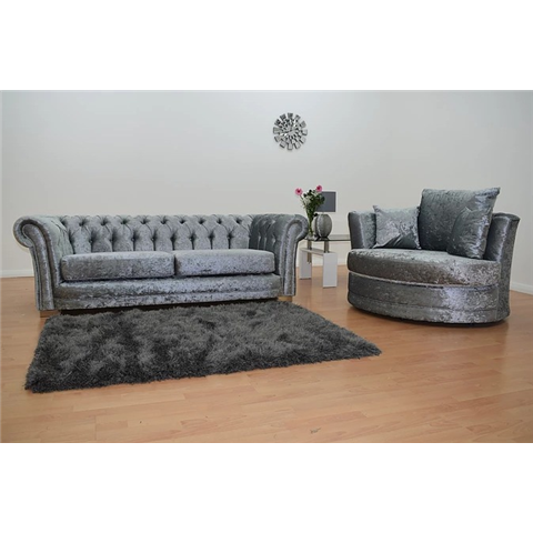 chesterfeild crushed velvet 3 str  sofa and swivel chair in silver