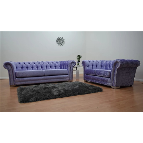 chesterfeild crushed velvet 3 and 2 seater sofa in lavender
