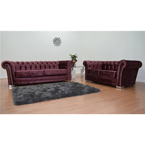 chesterfeild crushed velvet 3 and 2 seater in mulberry red