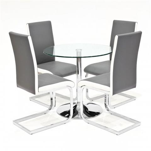 clear glass dining table with four brescia chairs grey with white stripe