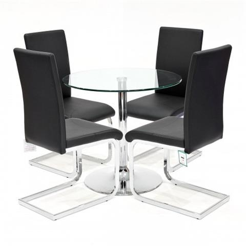 clear glass table with four brescia chairs in black