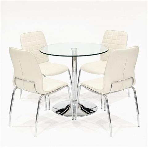 clear dining table with checkers chairs in white
