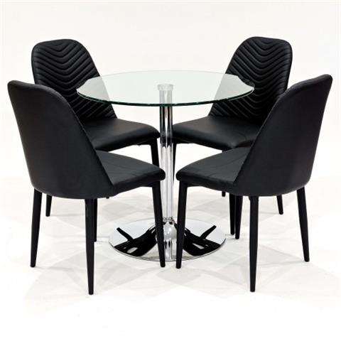 clear glass dining table with four riversway chairs in black