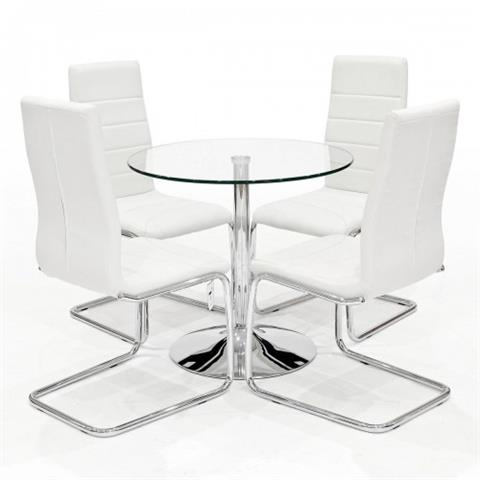 clear dining table with four  svenska chairs in white