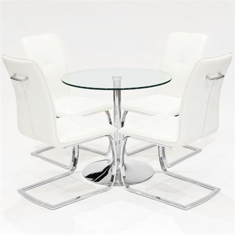 clear glass table with four belmont chairs in white