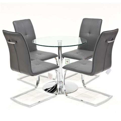 clear glass table with four belmont chairs in grey