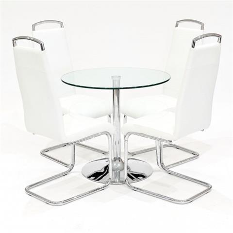 clear glass table with four handleback chairs in white