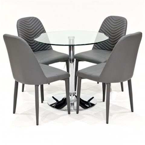 clear glass dining table with four riversway chairs in grey