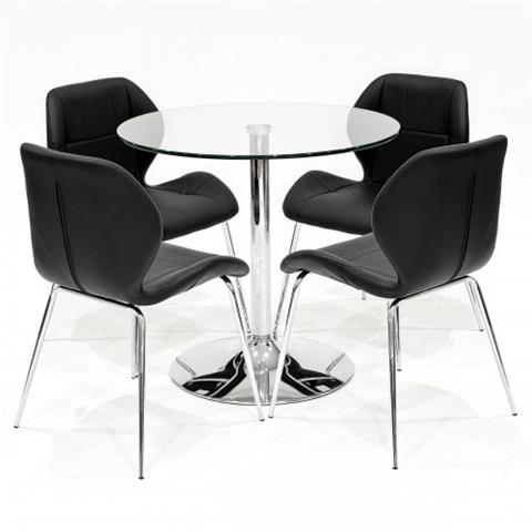 clear glass table and four dinky chairs in black