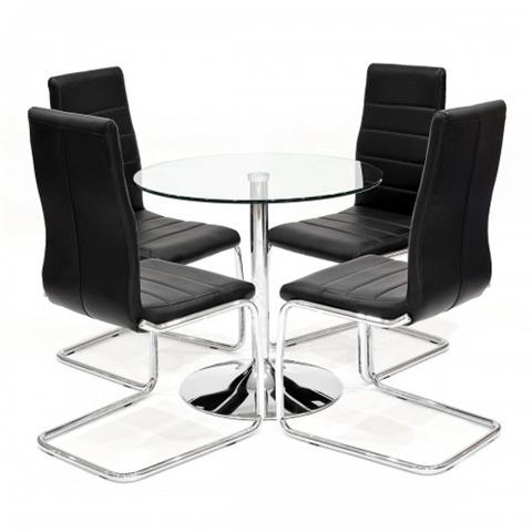 clear table with four svenska chairs in black