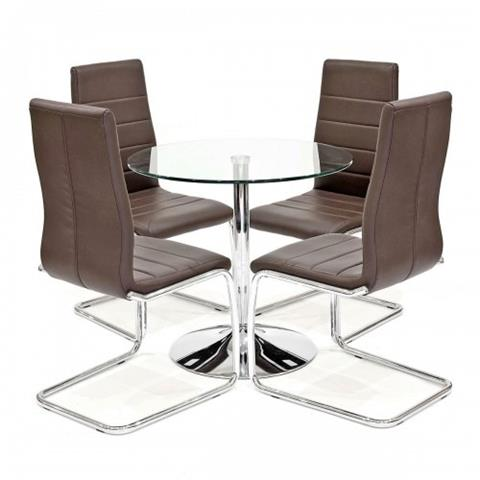 clear table with four svenska chairs in brown