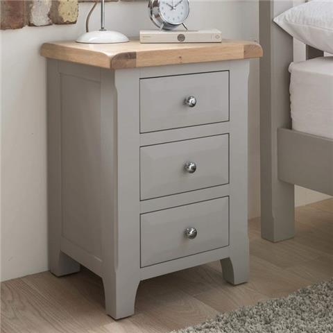 clemence solid oak 3 drawer night table