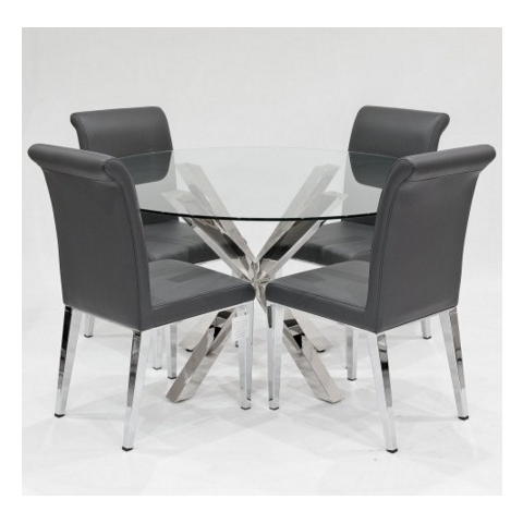 crossly glass dining table and 4 kirkland chairs in black