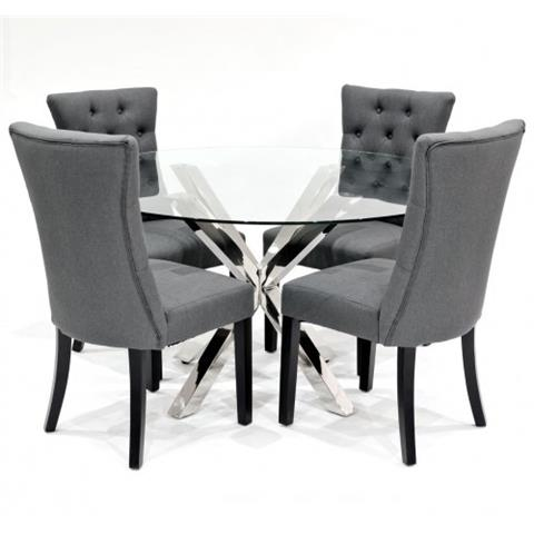 crossly glass dining table and 4 sanderson grey chairs