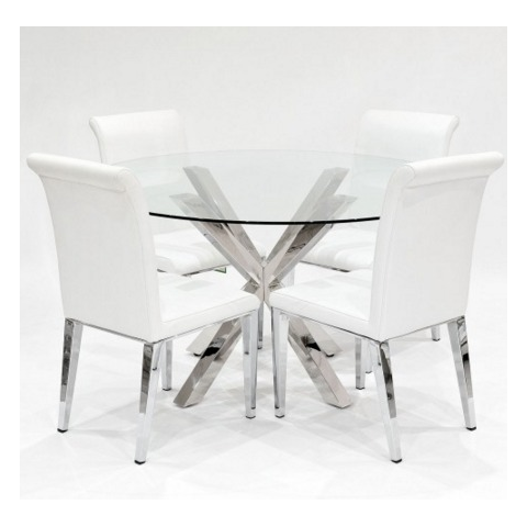 crossly glass dining table and 4 kirkland chairs in white
