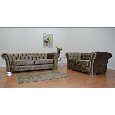 chesterfeild crushed velvet gold 3 seater and 2 seater