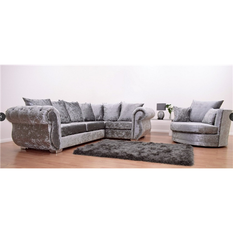windsor crushed velvet silver corner sofa and swivel love chair