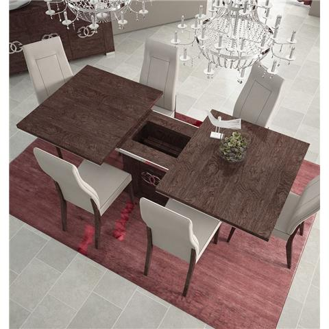 STATUS PRESTIGE UMBER BIRCH DINING TABLE WITH ONE LEAF AND 6 CHAIRS