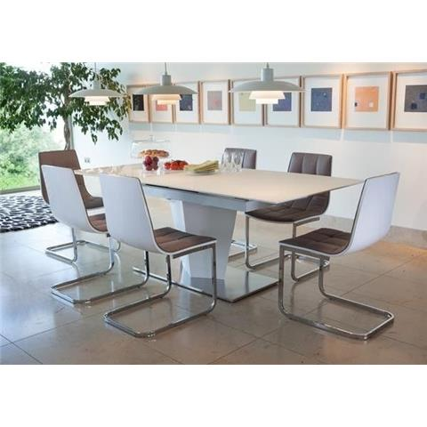 Essence large extending high gloss table with 6 chairs