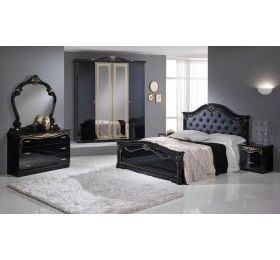Eva black and gold 4 door bedroom set