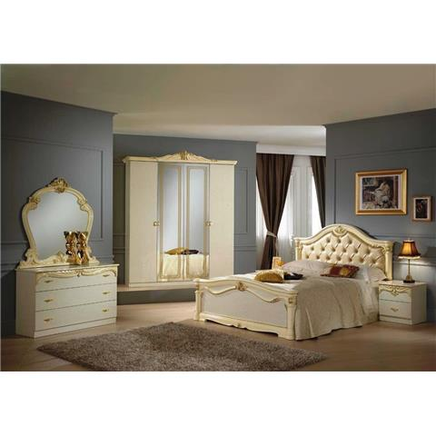 Eva italian bedroom set in cream and gold