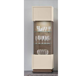 Evolution ivory and wood 1 door wall unit