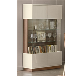 Evolution ivory and wood 2 door wall unit