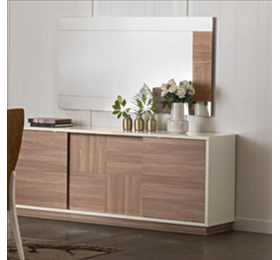 Evolution ivory and wood 3 door sideboard