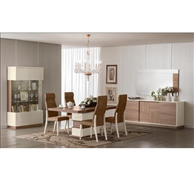 Evolution ivory and wood dining set