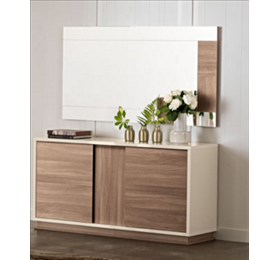 Evolution ivory and wood 2 door sideboard