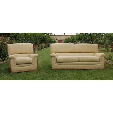 Giselle Cream Italian Leather 3 +1 + 1 Sofa Suite