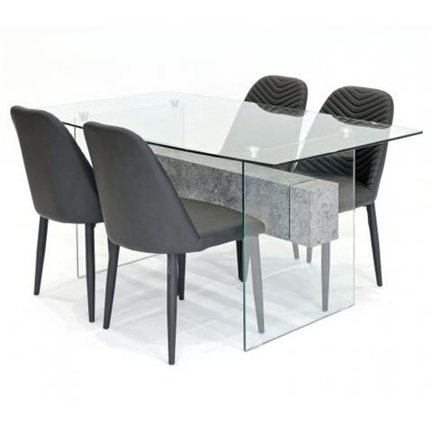 glasstone table and 4 chairs in black