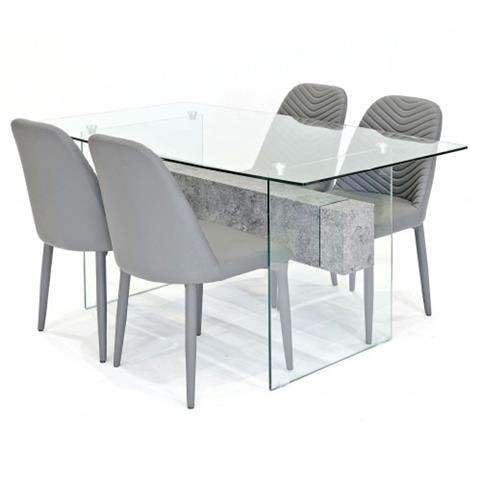 Glasstone table with 4 chairs in grey