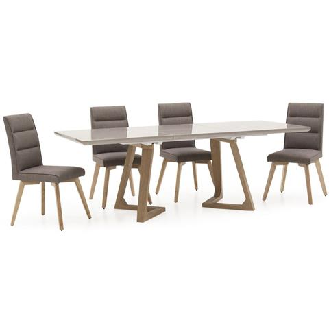 Jenoah extending high gloss dining table and 6 grey fabric chairs