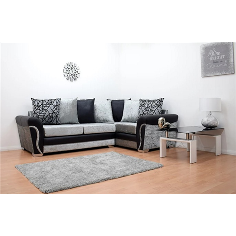 lexi black and silver crushed velvet corner sofa