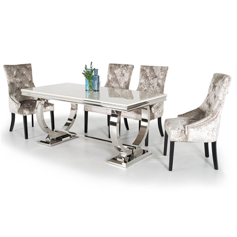 Arianna Marble Dining Table with 6 White Chairs