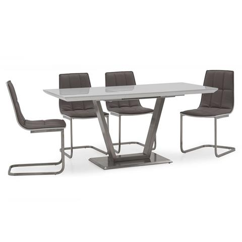 Metis high gloss small 120cm extending dining table and 4 chairs