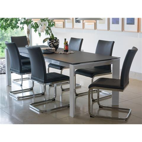 mobo large extending glass top dining table and 8 chairs