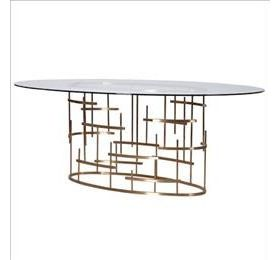 oval top glass dining table