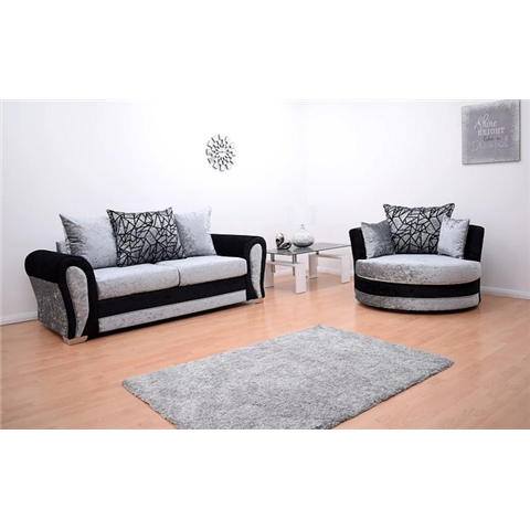 paris velvet 3 seater and swivel chair in black and silver
