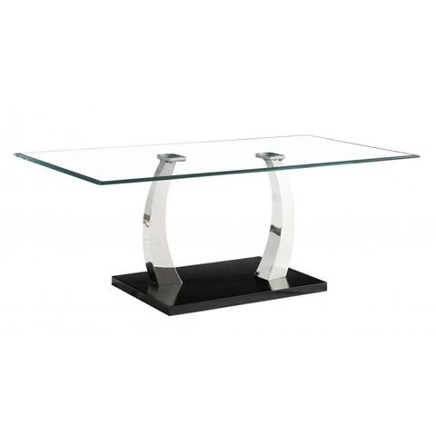 phoenix coffee table glass top and stainless steel base