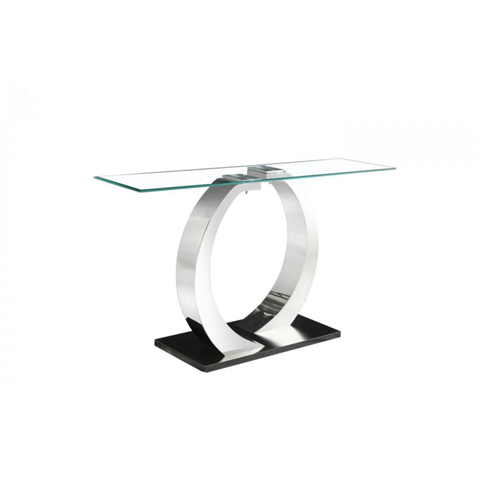 phoenix console table glass top and stainless steel base